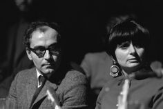 Jean-Luc Godard, and Agnès Varda at a meeting in Paris against the Vietnam War, 1967 (Photo by Raymond Depardon) Agnes Varda, William Klein, French New Wave, Jeanne Moreau, French Movies, Jean Luc Godard, The New Wave, Famous Couples, Magnum Photos