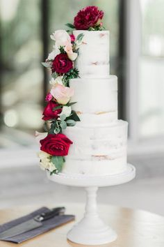 Semi naked wedding cake - Aimeejane Cake Design