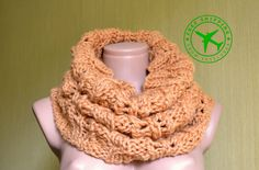 Hand knitted scarf. Yellow infinity scarf. Mebius knit scarf. Wool scarf. Knitted snood. Warm snood. Winter wraps. Women's scarf. Lacy scarf - pinned by pin4etsy.com