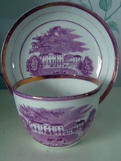 ANTIQUE ENGLISH PORCELAIN BAT PRINTED CUP AND SAUCER. C1820s/30s