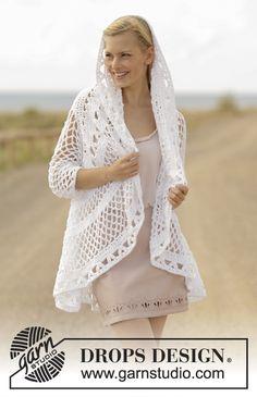Crochet jacket cotton, crochet top, cardigan worked in a circle with lace pattern. Crochet Bolero, Pull Crochet, Crochet Cape, Crochet Cardigan Pattern, Crochet Jacket, Cotton Crochet, Knit Crochet, Crochet Patterns, Crochet Circles