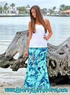 Starfish MAXI tie dye blue and aqua skirt