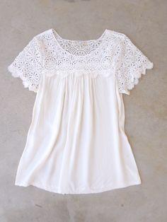 White Crochet Cotton Blouse Más