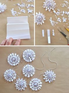 Handmade Holiday // Paper Snowflake Garland                                                                                                                                                     More Paper Christmas Decorations, Diy Snowflake Decorations, Christmas Paper Chains, Diy Christmas Garland, Diy Garland, Christmas Snowflakes, Snowflake Garland, Paper Ornaments, Christmas Projects