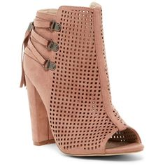 Catherine Catherine Malandrino Mowglious Perforated Open Toe Bootie ($40) ❤ liked on Polyvore featuring shoes, boots, ankle booties, nude, lace up high heel booties, open toe bootie, laced up ankle boots, open toe booties and lace up high heel boots