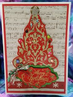 Christmas card,  Christmas tree,  music sheet,  notes,  glitters