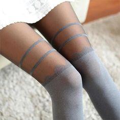7731f78db Women Sexy Chiffon Tights False High Stocking Pantyhose Girls High Knee  Tattoo Slim Tights New
