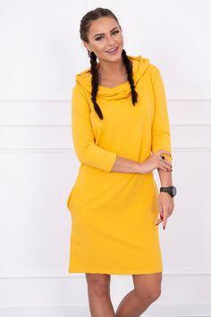 Sport Casual, Mustard, Cold Shoulder Dress, High Neck Dress, Dresses For Work, Pocket, Lady, Sports, Sleeves