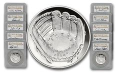 "2014 1 Dollar Silver Baseball Hall of Fame Dream Team 10pc Set PCGS PR70DCAM | This 10-piece collection of 2014 Hall of Fame Silver Dollars from the U.S. Mint is a baseball ""Dream Team,"" featuring a Hall of Fame player at each position (Pitcher, Catcher, 1st Base, 2nd Base, 3rd Base, Shortstop, Left Field, Center Field, Right-Field and Manager)."