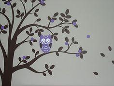 Owl in tree wall mural