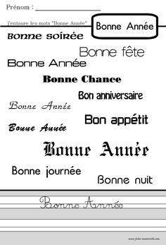 Fiche pedagogique Lecture Bonne Année Maternelle Grande Section, French Classroom, French Immersion, Nouvel An, French Language, Alphabet, Sheet Music, Messages, Math Equations