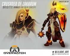 I've made this Brigitte Crusader of Zakarum because I really thought this could be so nice on her. Genji Overwatch, Overwatch Memes, Overwatch Fan Art, Paladins Overwatch, Overwatch Comic, Overwatch Support, Overwatch Skin Concepts, Character Concept, Character Design