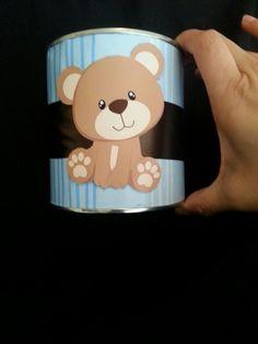 Recycled formula cans teddy bear theme centerpiece