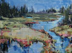 Dominique Normand - Bleu marécage Dominique, Artist Painting, Les Oeuvres, Landscape Paintings, Saatchi, Water, Boats, Normandy, Contemporary Art