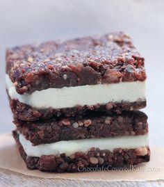 No-Bake Chocolate Cheesecake Brownie Bars: chocolatecoveredk. No-Bake Chocolate Cheesecake Brownie Desserts Crus, Raw Vegan Desserts, Vegan Treats, Raw Food Recipes, Sweet Recipes, Dessert Recipes, Vegan Raw, Dessert Blog, Vegan Life