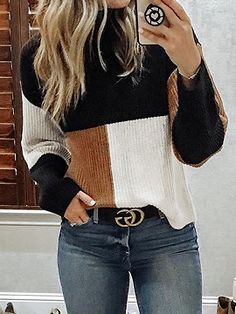 May 2020 - Contrast Color Splicing Reversible Sweater – bodyconest sweater styles outfits,outfit sweater,sweater outfit ideas Cute Fall Outfits, Winter Outfits Women, Casual Outfits, Winter Clothes For Women, Winter Sweater Outfits, Autumn Outfits, Casual Heels, Winter Dresses, Classy Outfits