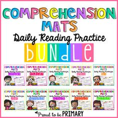 Comprehension Mats BUNDLE ~ Daily Reading Comprehension Practice for the Whole Year has 20 different printable reading comprehension mats for 10 months! Comprehension Mats are great for small group instruction, homework, and morning work.