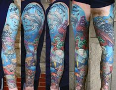 Gentleman With Tattoo Sleeve Of Coral Reef And Ocean