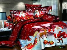 HOT queen size Christmas red Cotton Bed Quilt duvet Doona Cover Set Santa Claus