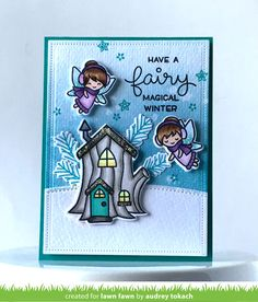 the Lawn Fawn blog: Lawn Fawn Frosty Fairy Friends Card by Audrey Tokach.