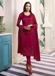 Dark Pink Embroidered Salwar Kameez Suit