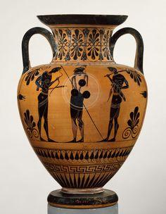 Terracotta neck-amphora (jar)  Attributed to an artist near Exekias Period: Archaic Date: ca. 530 B.C. Culture: Greek, Attic Medium: Terracotta; black-figure Dimensions: H. 15 7/8 in. (40.3 cm)