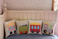 Train Pillow Set by maureencracknell, via Flickr