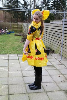 Dress recycling bag homemade daughter net fun yellow
