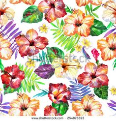 diverse exotic plants. seamless pattern watercolor tropical flowers hibiscus, palm, plumeria, frangipani. pattern Hawaiian wedding flowers on a white background. isolated. realistic flowers of spring.