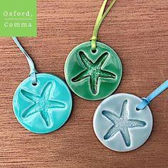 Ceramic starfish ornaments, porcelain starfish ornaments, beach house decor, nautical ornaments, nautical decor, set of 3