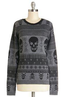 Skull Sweater - Grey, Novelty Print, Casual, Skulls, Long Sleeve, Better, Grey, Long Sleeve, Crew, Knit, Mid-length, Winter