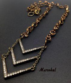 Chevron Necklace Brass Wire Interlocking Chain Square by marokel