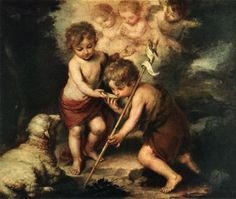 Infant Christ Offering a Drink of Water to St John The Baptist, BARTOLOMÉ ESTEBAN MURILLO. 1675-80, oil on canvas. Spanish Baroque.