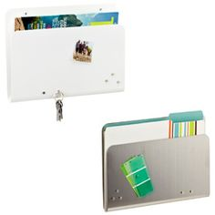FOR MAIL-> Magnetic Wall Pocket  Put your walls to work with our Magnetic Wall Pocket. Mail, bills, file folders and magazines are quickly and attractively organized on your office wall. Use the included magnets to post photos, to-do lists and reminders on the front of the pocket.    Screws and anchors for wall-mounting are included - $20