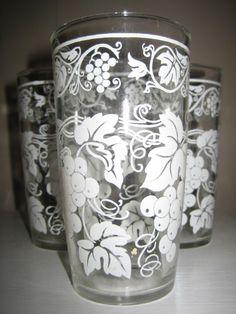 Vintage Hazel Atlas White Grape Vine Swanky Swig Tumbler Glasses 1950's EUC++ picclick.com