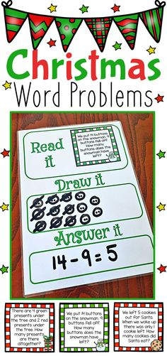Christmas Themed Word Problem Task Cards. Includes 72 different addition and subtraction word problems.The problems include both 1 step and 2 step problems. It also includes problems with 3 addends. Includes a word problem mat.