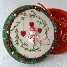 Noel Wreath with Snowman and Hearts Kitchen by SnowBerryNeedleArts