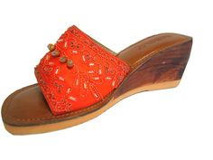 Rebel Wedge Sandal Mule Satine leather with sequence and embroidered Orange size 8 * Be sure to check out this awesome product.