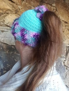 Crochet Ponytail Beanie Womens Winter Hat Blue Purple Toboggan Teen Pony Tail Beanie Turquoise Handmade Ear Warmer Gifts for Her USD) by FrivolousFunBoutique Crochet Santa Hat, Crochet Men, Crochet For Kids, Hand Crochet, Crochet Hats, Yarn Bee, Ponytail Beanie, I Love This Yarn, Elastic Hair Ties