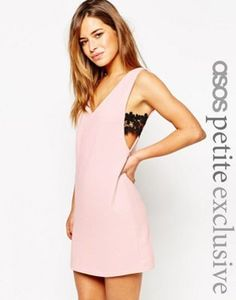 ASOS PETITE Shift Dress with V-Neck & Lace Sides