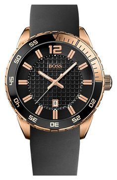 BOSS HUGO BOSS 'Deep Blue SX' Sport Silicone Strap Watch, 46mm | Nordstrom