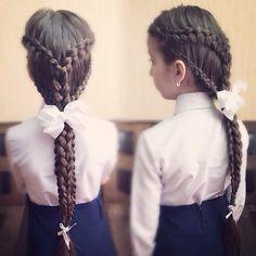Косы, braids for girls, fish braids, Косы с лентами, прически для девочек, косы в школу