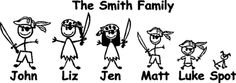 Let the landlubbers know that yerr family aint a bunch of squiffies with a custom pirate family sticker. Family Stickers, Car Stickers, Pirate Bedroom, Stick Family, Cricut Fonts, Window Decals, Pirates, Camper, Gifts