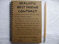ReALiStiC Best Friend Contract - 5 x 7 journal