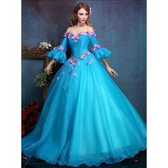 100%real royal embroidery blue flower ball gown Medieval dress... ❤ liked on Polyvore featuring costumes, belle halloween costume, victorian costumes, renaissance costumes, belle costume and blue costume