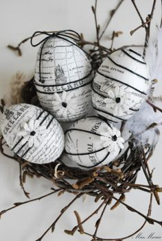 paper covered easter eggs