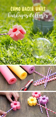 A todos los niños les encantan las burbujas, aquí tenemos una sencilla forma de consentirlos se hacen en menos de 5 minutos y con materiales muy fáciles de conseguir.