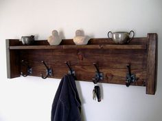 Coat Rack Hat Rack Key Rack Towel Rack with Shelf by TheVineyards