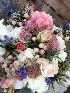 Garden Picked Bouquet, Roses, Sedum, Berries, Salvia and Wheat.  Burton Floral, Burton, Ohio
