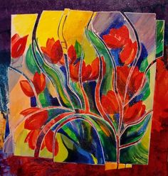 TULIP FIESTA 12051, acrylic tulip flower contemporary painting Carol Nelson Fine Art, painting by artist Carol Nelson